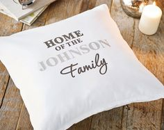 Washable. Cushion pads are not included. 100% Cotton. H42.5 x W43.5 x D1cm. Personalise with up to 10 characters (UPPER CASE). The words 'HOME OF THE' and 'Family' are fixed.  Please enter personalisation in proper case avoiding using block capitals unless block capitals are required & accepted as the personalisation style in the product description.