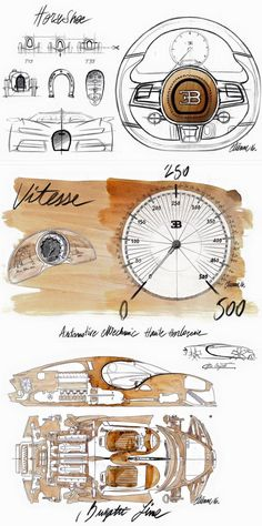 2017 Bugatti Chiron production vehicle Interior sketches by Etienne Salome