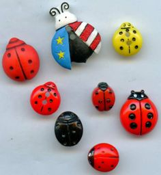 Lady bug beetle buttons vintage and modern buttons $11.00 in my ecrater button store