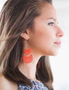Complete your Saturday brunch outfit with our Etched Crescent earrings. Their hand carved and tiered silhouette are a sweet addition and create the perfect effortless look. Statement Earrings, Drop Earrings, Brunch Outfit, Coral Dress, Trendy Colors, Ethical Fashion, Bones, Hand Carved, Handmade Jewelry