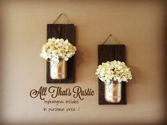 Set of 2 Mason Jar Sconces Mason Jar Sconce от AllThatsRustic