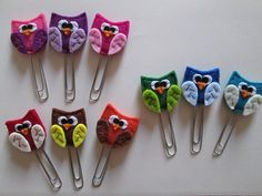 Owl Paper clips - Planner accessories - felt bookmarks- Owl bookmarks - Gift for readers - Handmade - Set di 3 clip con Gufo in feltro  Accessori di TinyFeltHeart