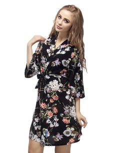 Black Short Length Women's Cotton Kimono Robe, Short Bridesmaid Robe, Bridal Shower Robe, Bridesmaid Getting Ready Robe