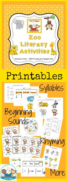 Printable Zoo Literacy Activities for #preschool and #kindergarten