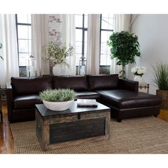 Elements Fine Home Urban Leather Sectional | from hayneedle.com
