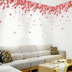A Piece of Chic Simple Home Decoration PVC Peach Flower Pattern Decorative Wall Sticker