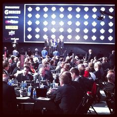 A little far but Morgan Rielly on stage after being selected by the Leafs