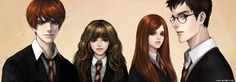 DeviantArt: More Collections Like Ginny Weasley and Harry Potter by miyavi Ron And Hermione, Ginny Weasley, Desenhos Harry Potter, Harry Potter Fan Art, Anime Hair, Photoshop Cs5, Character Illustration, Boys Who, Pretty Hairstyles