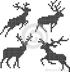 Vector Pixel Silhouettes Of Deers Royalty Free Cliparts, Vectors, And Stock Illustration. Image Silhouettes Of Deers Royalty Free Cliparts, Vectors, And Stock Illustration. Cross Stitch Charts, Cross Stitch Designs, Cross Stitch Patterns, Loom Beading, Beading Patterns, Embroidery Patterns, Cross Stitching, Cross Stitch Embroidery, Cross Stitch Fairy