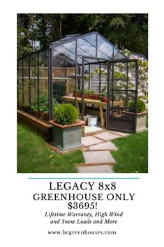 Lifetime Warranty, High Wind and Snow Loads too. Backyard Greenhouse, Backyard Landscaping, Back Gardens, Outdoor Gardens, Wooden Greenhouses, Small Pool Design, Patio Makeover, Agriculture, Garden Projects