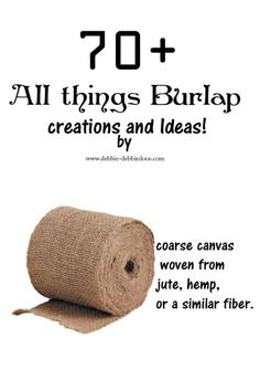 70 burlap projects from my own personal gallery. wreaths, runners, valances and More! Burlap Projects, Burlap Crafts, Fabric Crafts, Sewing Crafts, Craft Projects, Craft Ideas, Pallet Projects, Decorating Ideas, Decor Ideas