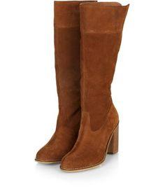 Tan Suede Calf High Boots