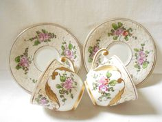 French Antique Pair of Handpainted Limoges Porcelain Cups & Saucers (A790). C 1900