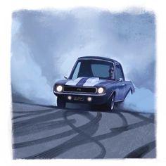 """Burnout"" Car Photos, Ford Mustang, Fashion Art, Concept Art, Illustration Art, Character Design, Painting, Cartoon, Instagram"