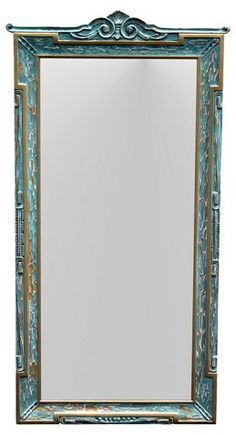 Neoclassical-style mirror with a distressed green and gold finish. Entryway Mirror, Neoclassical, Made Of Wood, Mid Century Furniture, Green And Gold, 1920s, Mirrors, Oversized Mirror, Architecture