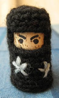 Cork and Crochet Ninja: super simple pattern to make a mini ninja with just a cork and some yarn.
