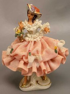 GERMAN DRESDEN PORCELAIN LACE FIGURINE
