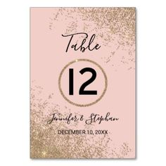 Gold Glitter Sparkles Blush Pink Table Numbers - glitter glamour brilliance sparkle design idea diy elegant