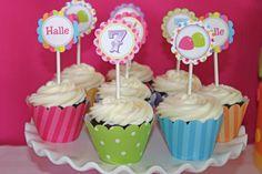 DIY Candy Shoppe Birthday Party  PRINTABLE Cupcake Topper pink green blue yellow orange  candyland -Cupcake Express