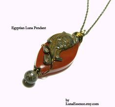 Red Sardonyx Egyptian Luna Pendant by LunaEssence on Etsy