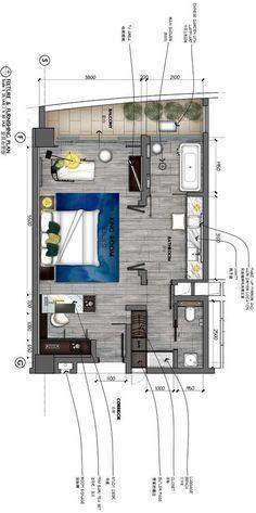 Studio Floor Plans, Hotel Floor Plan, House Floor Plans, Master Bedroom Layout, Hotel Room Design, Apartment Floor Plans, Small Space Interior Design, Tiny Apartments, Hotel Interiors