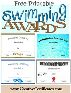 A variety of free printable swimming awards and certificates. Many more free sports awards and award certificates on this site. Swimming Lessons For Kids, Swimming Classes, Swim Lessons, Kids Swimming, Swim Team Party, Swim Team Gifts, Swim Team Mom, Life Coach Quotes, Life Quotes Love
