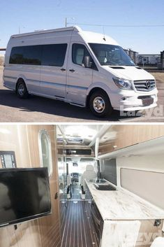 There's more than meets the eye in the Airstream Interstate. Find a place to lay your head, sleek accents and more in this Class B Motorhomes, Motorhomes For Sale, Airstream Interstate, Travel Trailers For Sale, Used Rvs, Mobile Homes, Rv Life, Campervan, Life Goals