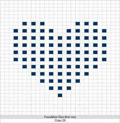 Free Crochet Pattern - 8 inch Full Heart Bobble Square from the Afghans Free Crochet Patterns Category and Knit Patterns