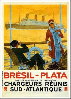 Bresil-Plata Sud-Atlantique Ocean Liner Travel Poster