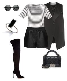 """Black & White Casual"" by bshujewelry ❤ liked on Polyvore featuring McQ by Alexander McQueen, Topshop, Gianvito Rossi, ZeroUV and Chanel"