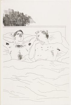 'In the Dull Village' by David Hockney from Poems of Cavafy,' 1966 (etching and aquatint on paper) David Hockney, Drawing Sketches, Art Drawings, Contour Drawing, Pop Art Movement, Queer Art, Beautiful Drawings, Gay Art, Erotic Art