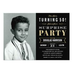 Sparkle Old Picture Surprise Birthday Invitations - 50th, 40th, 69th, 30th, 70th