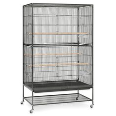 The Prevue Pet Products Extra Large Wrought Iron Flight Bird Cage is the perfect home for parakeets, canaries or finches cage. This easy to assemble cage includes plastic cups, solid wood perches and a removable bottom grill for simple cleaning. Macaw Cage, Finch Cage, Pet Mice, Parakeets, Parrots, Exotic Birds, Pet Products, Wrought Iron, Locker Storage