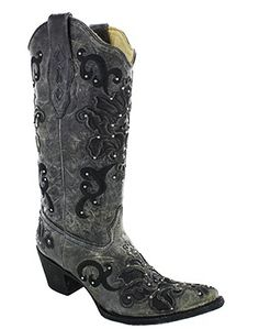 Corral ® Ladies Crater Black Inlay And Studs Western Boot
