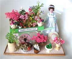 """Miniature Flower Cart"""". Comes fully completed and decorated ..."""