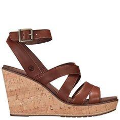 efcef34c95ff Timberland Women s Danforth Cork Wedge Sandals Brown Full-Grain Brown Wedge  Sandals