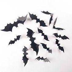 24 Home Room Wall Sticker 3D Bat Sticker Decor Halloween Party Decoration New