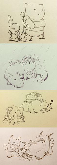 Squirtle, Blastoise, Charmander, Charizard, Bulbasaur, Venusaur, Pichu, Pikachu, & Raichu. #Pokemon #StarterPokemon #Kanto