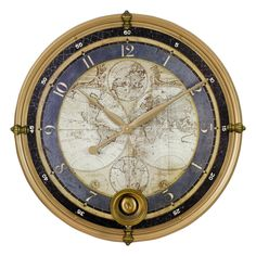 Aspire Ramona Old Map Blue and Gold Metal Wall Clock (Ramona Old Map Wall Clock)