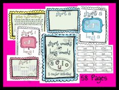 Short Vowels and Long Vowels Reading Center Station Games Activities