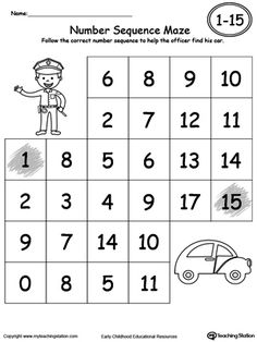 Practice recognizing number sequence 1 through 15 with this fun maze printable. Your child will follow the correct number sequence to complete the maze.