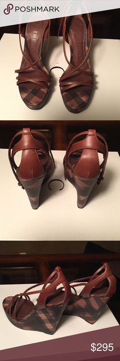 Authentic Burberry Mocha Brown High Wedge Sandals PRICE REDUCTION!  Sexy Sandals. Great condition. Worn twice. Burberry Shoes Wedges