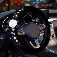 White Camellia Crystal Rhinestones Plush Car Interior Set with FREE worlwide shipping! Car Interior Accessories, Cute Car Accessories, White Camellia, Girly Car, Cute Cars, Wheel Cover, Modified Cars, Crystal Rhinestone, Plush