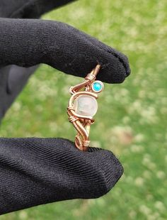Gold and Blue Cabochon Wire Wrapped Rutilated Quartz Gemstone Doublet Rutilated Quartz Necklace Rutilated Quartz Pendant