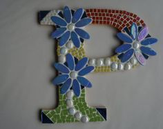 hand made glass mosaic letter