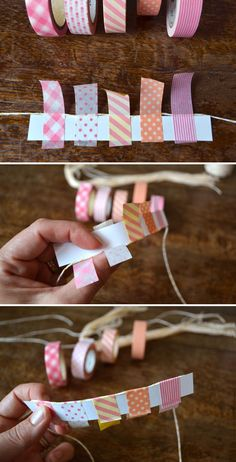 Handmade Baby Shower Invitation Mini bunting made of washi tape - ideal for a card Handmade Birthday Cards, Diy Birthday, Washi Tape Crafts, Paper Crafts, Handgemachtes Baby, Tarjetas Diy, Carton Invitation, Blog Deco, Baby Cards