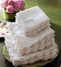Crochet-Edge Tea Napkins, Set of 12 traditional table linens. Have a set of these from my grandmother; Vintage Tea, Vintage Lace, Vintage Crochet, Do It Yourself Wedding, Linens And Lace, White Linens, Napkins Set, White Napkins, Linen Napkins