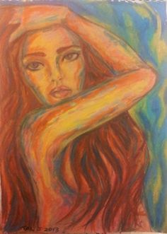 """Living Colors - An energetic and dynamic painting done with soft pastel. I tried to use the """"soft"""" pastels in a new technique and use as many colors as I could to create a warm atmosphere.   http://etsy.me/1eC1sTg"""