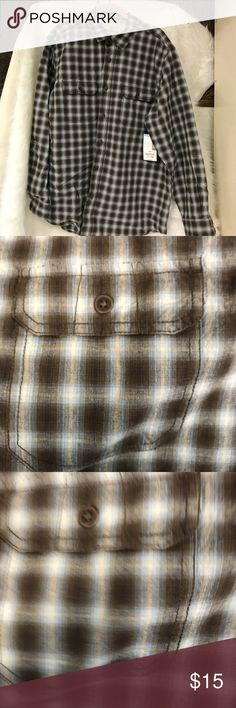 Outdoor Life plaid shirt Brown and blue Outdoor Life Shirts Casual Button Down Shirts