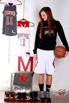 Cute senior athlete picture idea!  Save their athletic shoes and uniforms from a sport they love to show how much they have grown! Love basketball girls. They are the best-est! :)